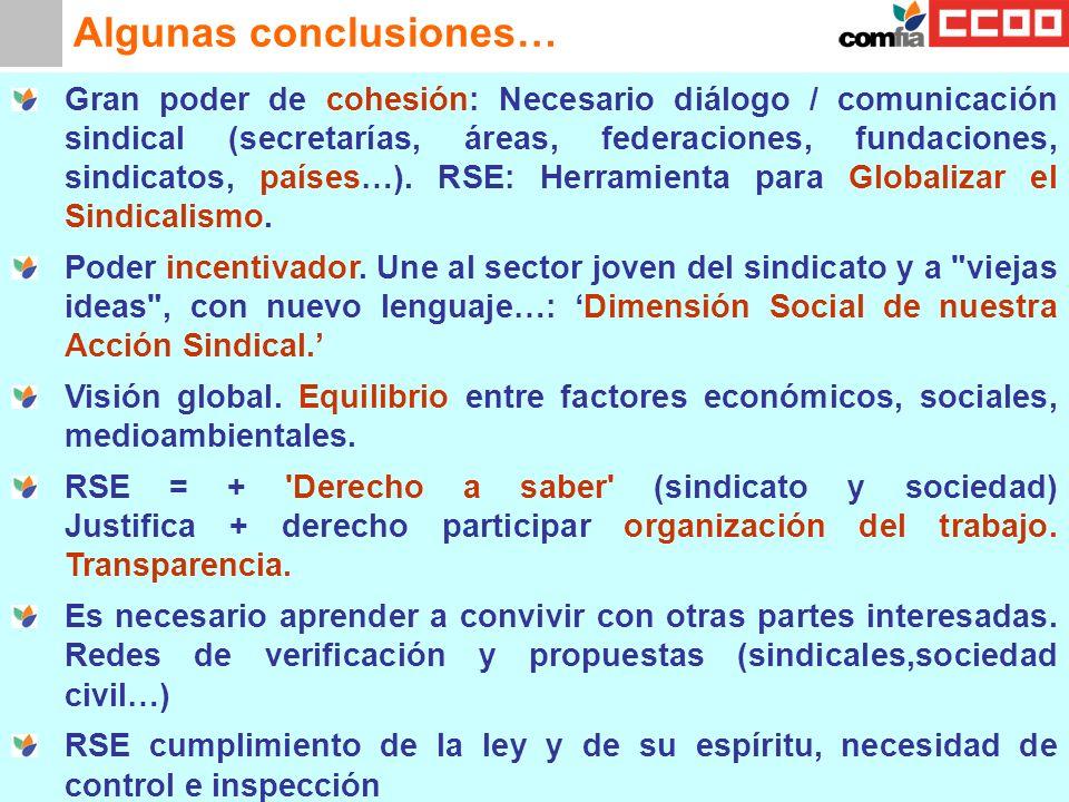 Algunas conclusiones… Gran poder de cohesión: Necesario diálogo / comunicación sindical (secretarías, áreas, federaciones, fundaciones, sindicatos, pa
