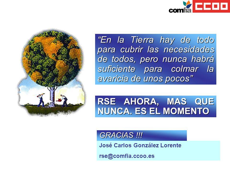 José Carlos González Lorente rse@comfia.ccoo.es GRACIAS !!! En la Tierra hay de todo para cubrir las necesidades de todos, pero nunca habrá suficiente