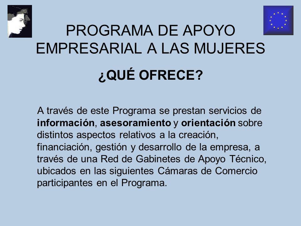 PROGRAMA DE APOYO EMPRESARIAL A LAS MUJERES ¿QUÉ OFRECE.