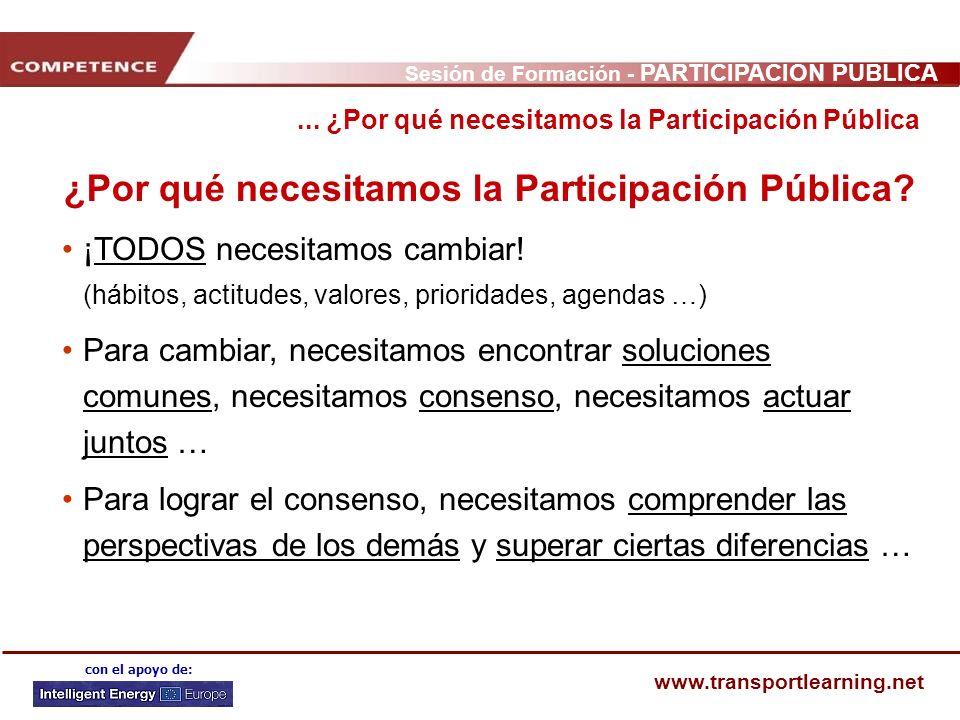 Sesión de Formación - PARTICIPACIÓN PÚBLICA www.transportlearning.net con el apoyo de: ¿Por qué necesitamos la Participación Pública? ¡TODOS necesitam