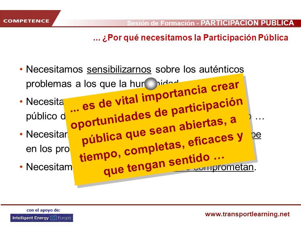 Sesión de Formación - PARTICIPACIÓN PÚBLICA www.transportlearning.net con el apoyo de: Necesitamos sensibilizarnos sobre los auténticos problemas a lo