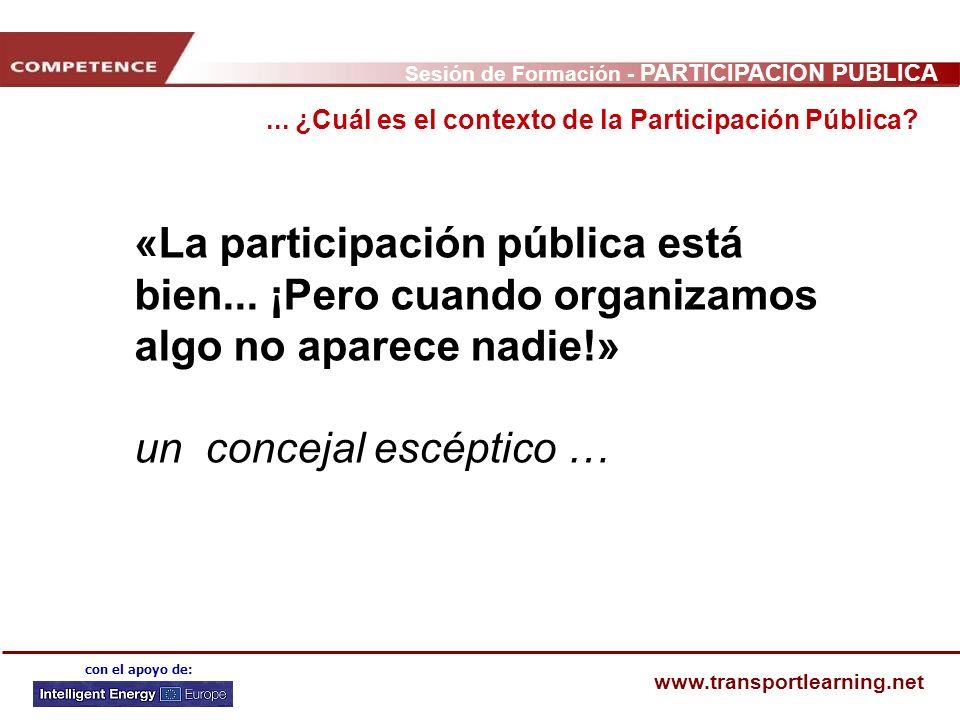 Sesión de Formación - PARTICIPACIÓN PÚBLICA www.transportlearning.net con el apoyo de: «La participación pública está bien... ¡Pero cuando organizamos