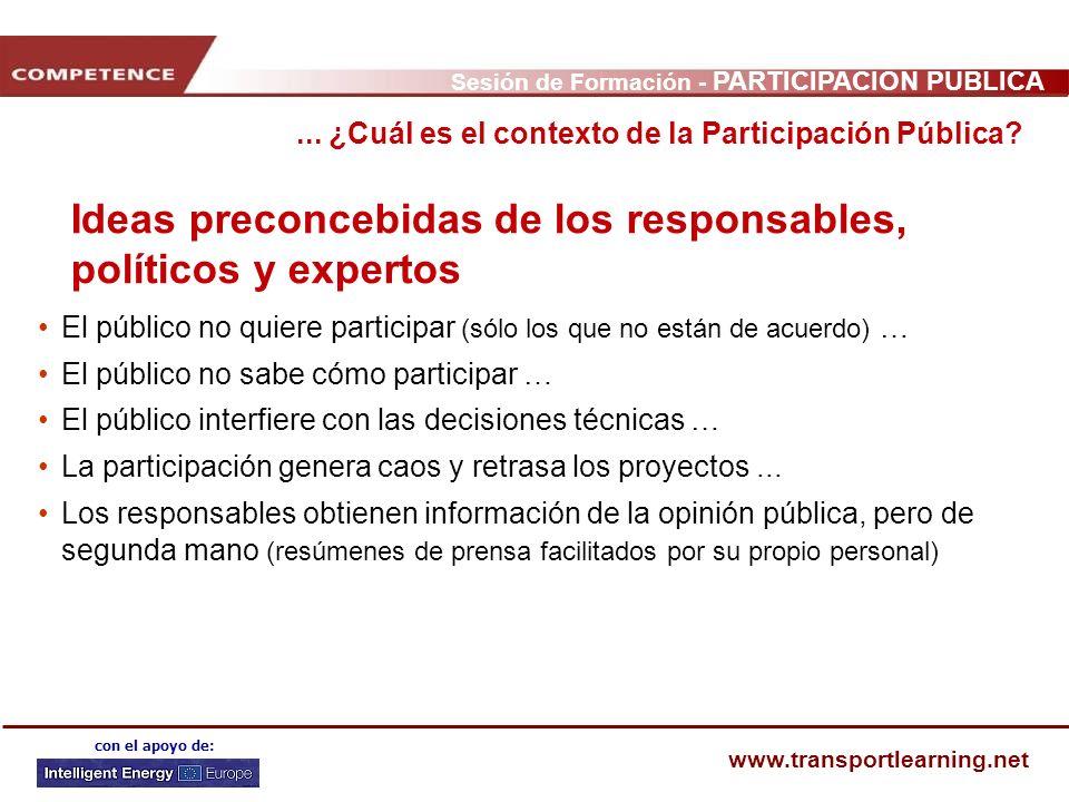 Sesión de Formación - PARTICIPACIÓN PÚBLICA www.transportlearning.net con el apoyo de: Ideas preconcebidas de los responsables, políticos y expertos E