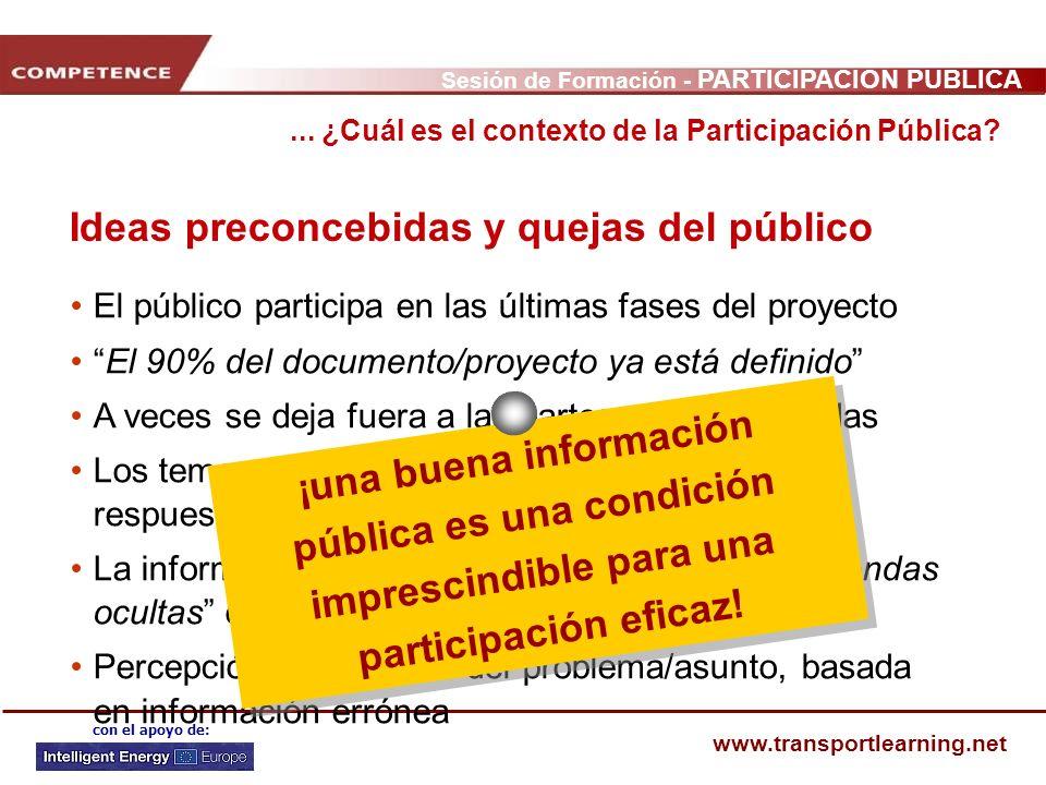 Sesión de Formación - PARTICIPACIÓN PÚBLICA www.transportlearning.net con el apoyo de: El público participa en las últimas fases del proyecto El 90% d