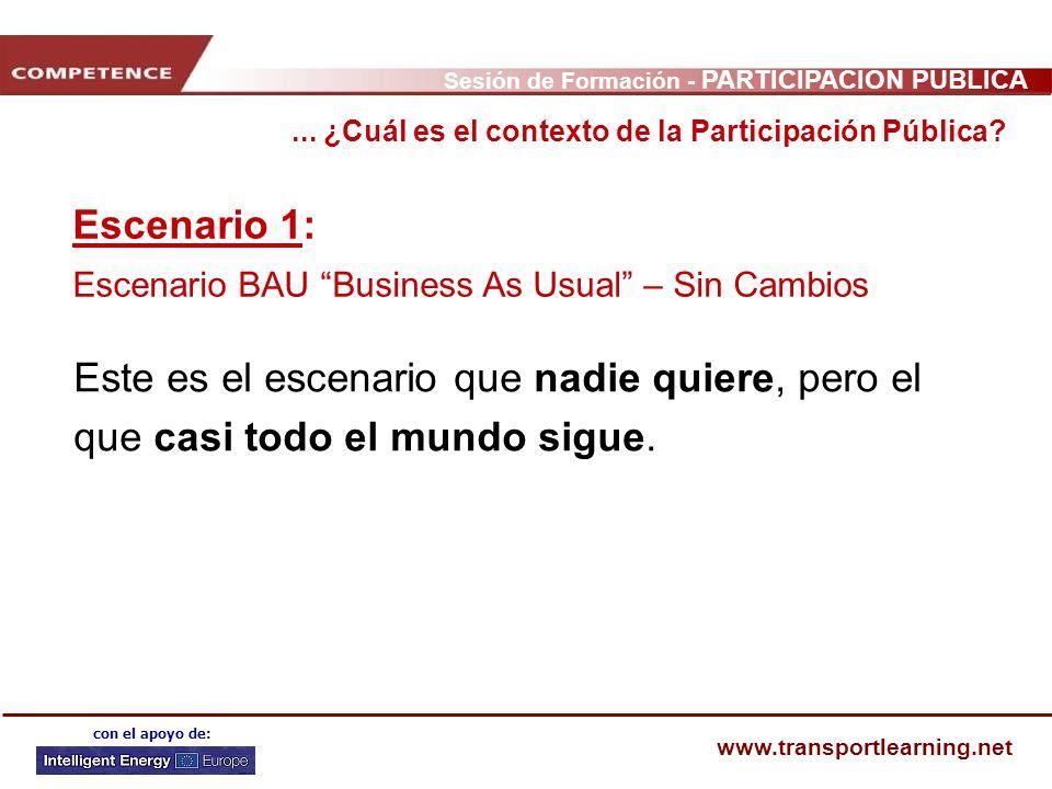 Sesión de Formación - PARTICIPACIÓN PÚBLICA www.transportlearning.net con el apoyo de: Escenario 1: Escenario BAU Business As Usual – Sin Cambios Este