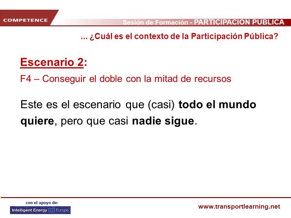 Sesión de Formación - PARTICIPACIÓN PÚBLICA www.transportlearning.net con el apoyo de: Escenario 2: F4 – Conseguir el doble con la mitad de recursos E