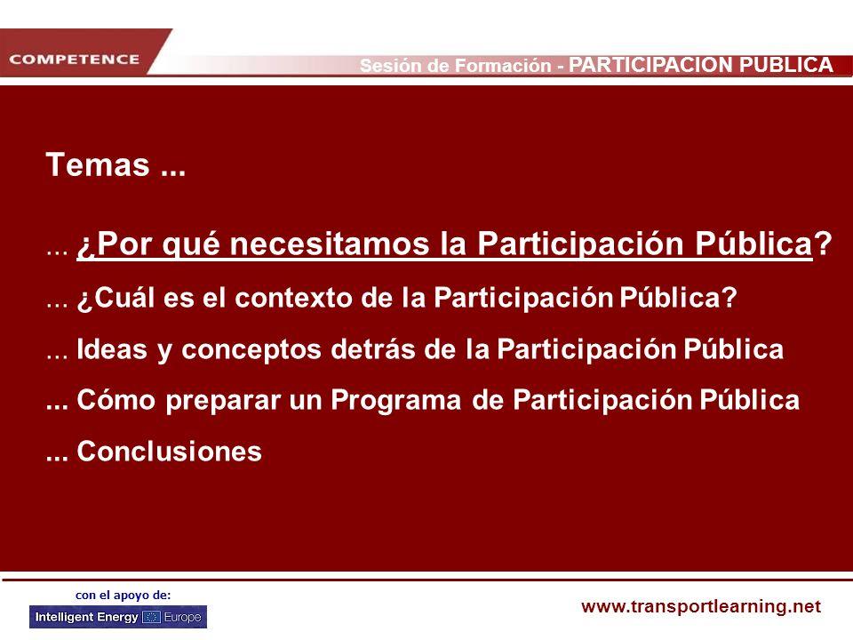 Sesión de Formación - PARTICIPACIÓN PÚBLICA www.transportlearning.net con el apoyo de: Temas...... ¿Por qué necesitamos la Participación Pública?... ¿