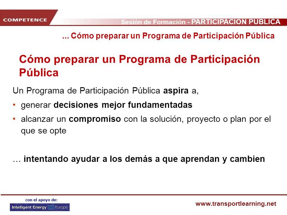 Sesión de Formación - PARTICIPACIÓN PÚBLICA www.transportlearning.net con el apoyo de: Cómo preparar un Programa de Participación Pública... Cómo prep