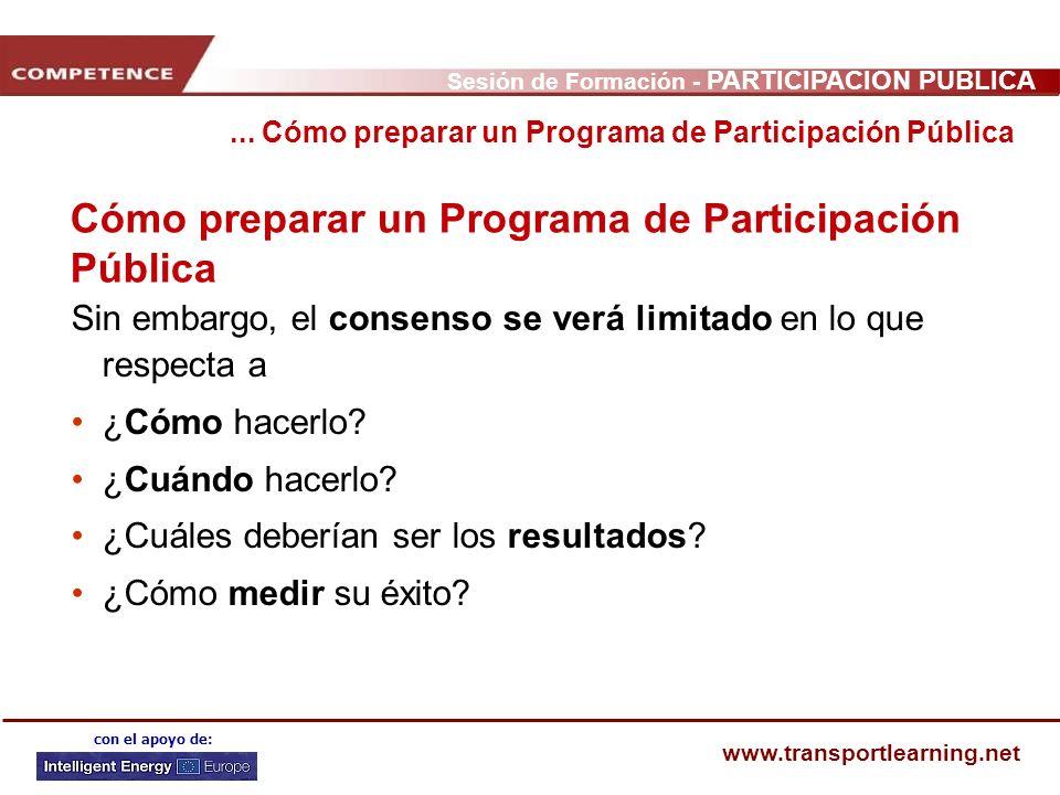 Sesión de Formación - PARTICIPACIÓN PÚBLICA www.transportlearning.net con el apoyo de: Cómo preparar un Programa de Participación Pública Sin embargo,