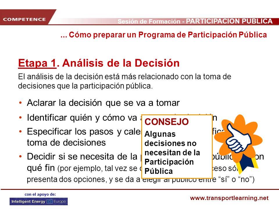 Sesión de Formación - PARTICIPACIÓN PÚBLICA www.transportlearning.net con el apoyo de: Aclarar la decisión que se va a tomar Identificar quién y cómo