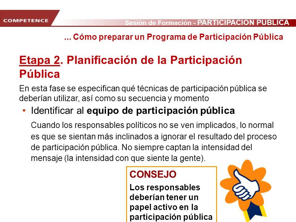Sesión de Formación - PARTICIPACIÓN PÚBLICA www.transportlearning.net con el apoyo de: Identificar al equipo de participación pública Cuando los respo
