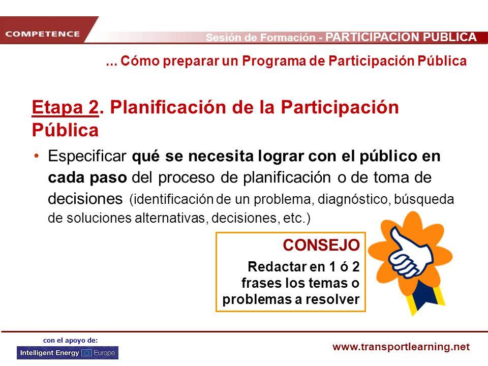 Sesión de Formación - PARTICIPACIÓN PÚBLICA www.transportlearning.net con el apoyo de: Etapa 2. Planificación de la Participación Pública Especificar