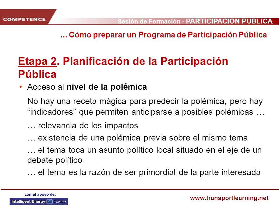 Sesión de Formación - PARTICIPACIÓN PÚBLICA www.transportlearning.net con el apoyo de: Etapa 2. Planificación de la Participación Pública Acceso al ni