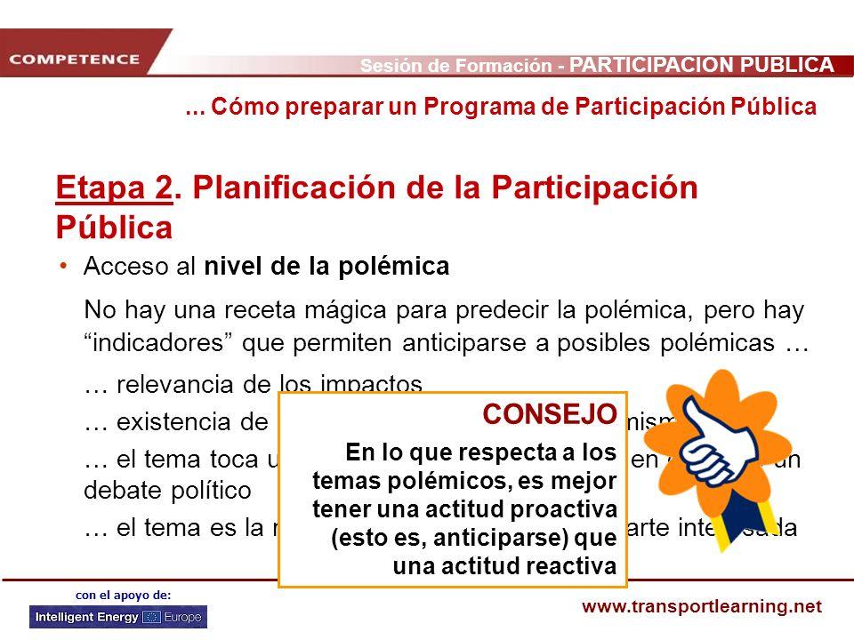 Sesión de Formación - PARTICIPACIÓN PÚBLICA www.transportlearning.net con el apoyo de: Acceso al nivel de la polémica No hay una receta mágica para pr