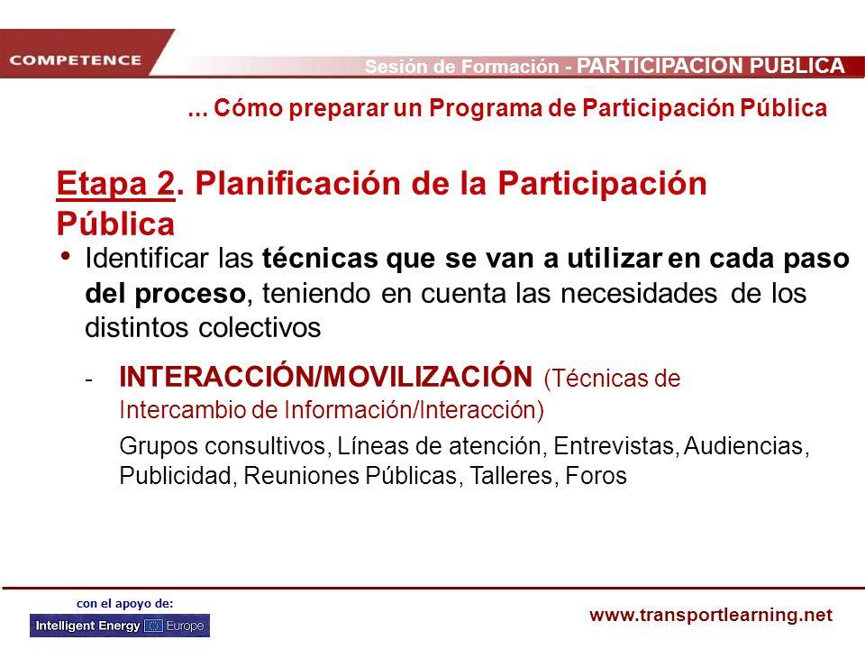Sesión de Formación - PARTICIPACIÓN PÚBLICA www.transportlearning.net con el apoyo de: Etapa 2. Planificación de la Participación Pública Identificar