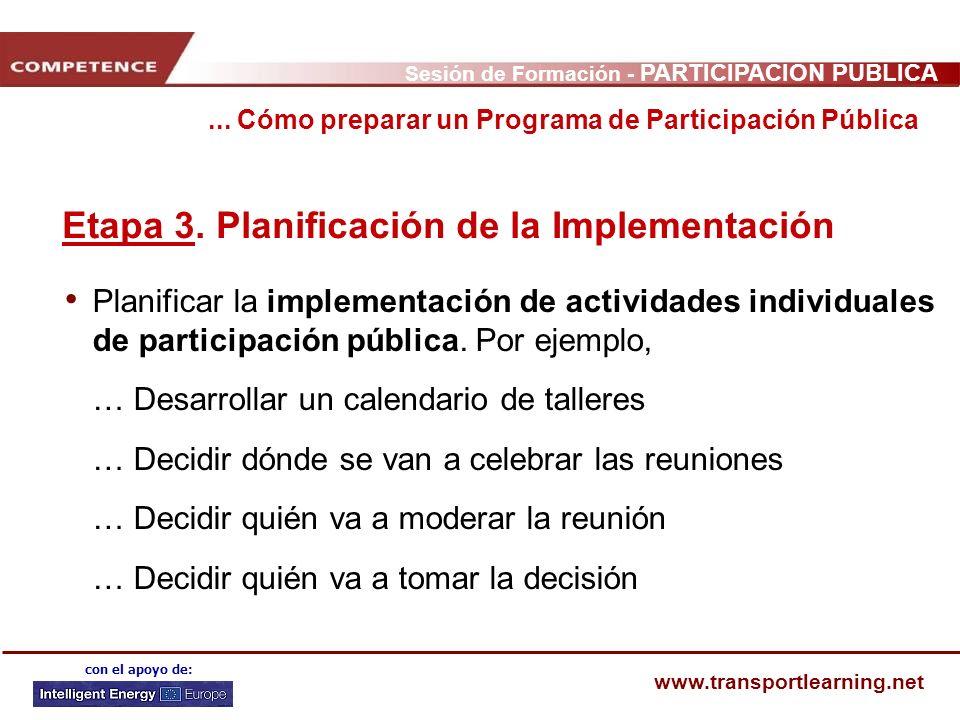 Sesión de Formación - PARTICIPACIÓN PÚBLICA www.transportlearning.net con el apoyo de: Etapa 3. Planificación de la Implementación Planificar la imple