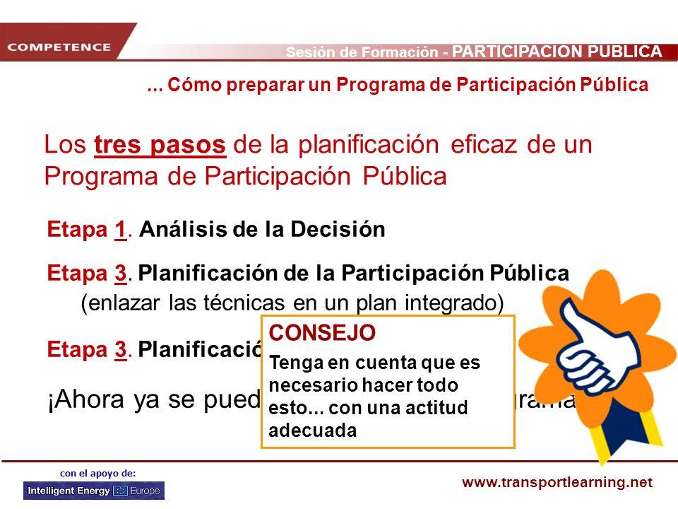 Sesión de Formación - PARTICIPACIÓN PÚBLICA www.transportlearning.net con el apoyo de: Los tres pasos de la planificación eficaz de un Programa de Par