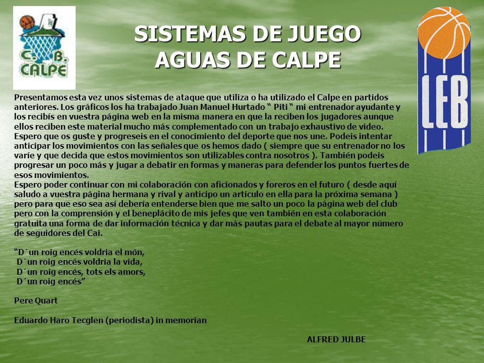 SISTEMAS DE JUEGO AGUAS DE CALPE Presentamos esta vez unos sistemas de ataque que utiliza o ha utilizado el Calpe en partidos anteriores. Los gráficos