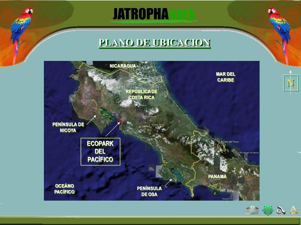 PLANO DE UBICACION ECOPARK DEL PACÍFICO OCEÁNO PACÍFICO MAR DEL CARIBE NICARAGUA PANAMÁ PENÍNSULA DE NICOYA PENÍNSULA DE OSA REPÚBLICA DE COSTA RICA N