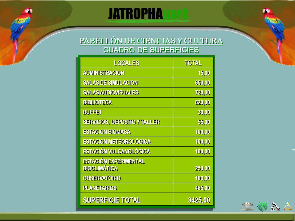 PABELLÓN DE CIENCIAS Y CULTURA CUADRO DE SUPERFICIES LOCALESTOTALADMINISTRACION15,00 SALAS DE SIMULACION 650,00 SALAS AUDIOVISUALES 720,00 BIBLIOTECA8
