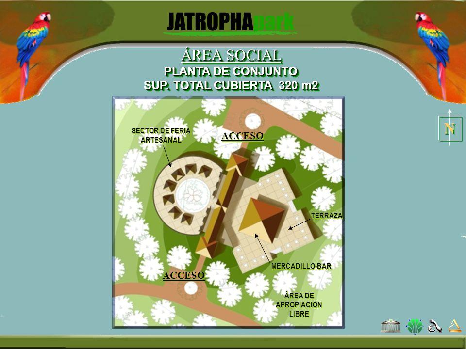 ÁREA SOCIAL PLANTA DE CONJUNTO SUP. TOTAL CUBIERTA 320 m2 SECTOR DE FERIA ARTESANAL ÁREA DE APROPIACIÓN LIBRE MERCADILLO-BAR ACCESO N N TERRAZA