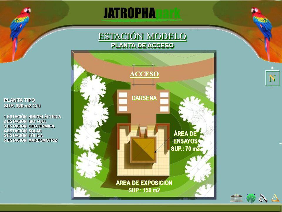PLANTA TIPO SUP. 320 m2 C/U 1-ESTACIÓN HDROELÉCTRICA 2-ESTACIÓN BIO FUEL 3-ESTACIÓN GEOTÉRMICA 4-ESTACIÓN SOLAR 5-ESTACIÓN EÓLICA 6-ESTACIÓN MAREOMOTR
