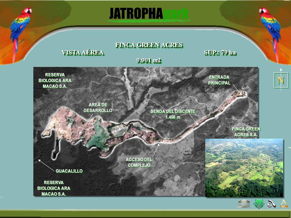 FINCA GREEN ACRES VISTA AÉREA SUP.: 79 ha 9.901 m2 SENDA DEL DISCENTE 1.456 m ENTRADA PRINCIPAL AREÁ DE DESARROLLO GUACALILLO RESERVA BIOLOGICA ARA MA