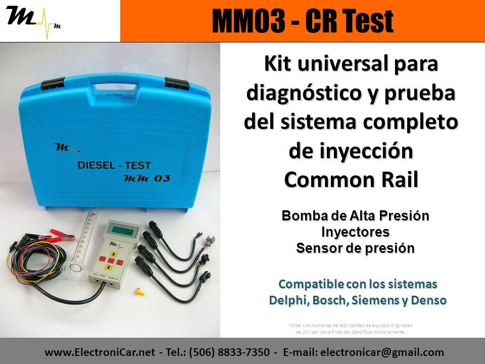 Kit universal para diagnóstico y prueba del sistema completo de inyección Common Rail Compatible con los sistemas Delphi, Bosch, Siemens y Denso Nota: Los nombres de fabricantes de equipos originales se utilizan para fines de identificación solamente.