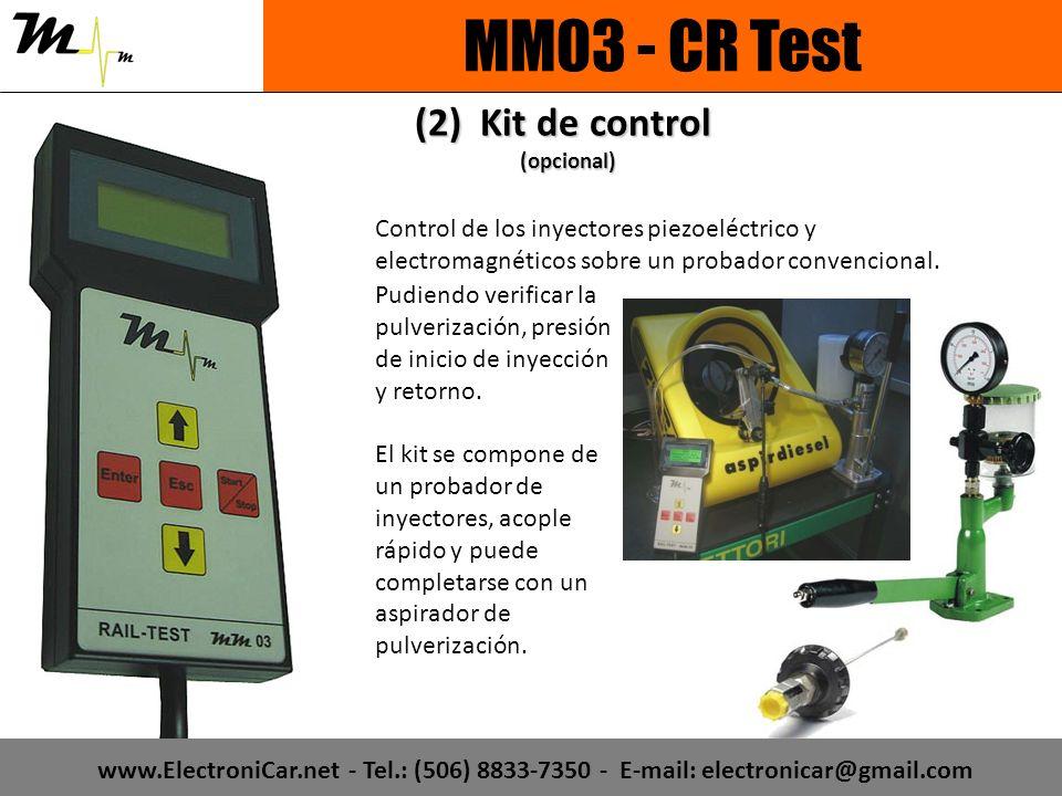 Control de los inyectores piezoeléctrico y electromagnéticos sobre un probador convencional. Pudiendo verificar la pulverización, presión de inicio de
