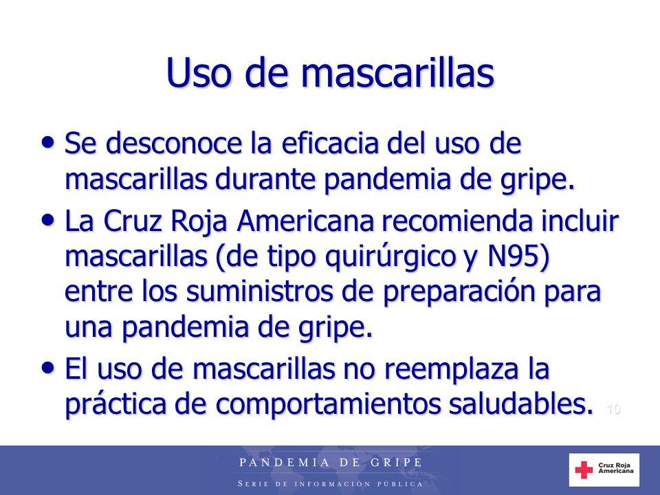 10 Uso de mascarillas Se desconoce la eficacia del uso de mascarillas durante pandemia de gripe. Se desconoce la eficacia del uso de mascarillas duran