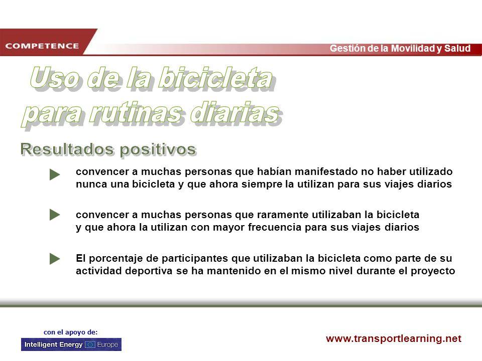 www.transportlearning.net Gestión de la Movilidad y Salud con el apoyo de: convencer a muchas personas que habían manifestado no haber utilizado nunca