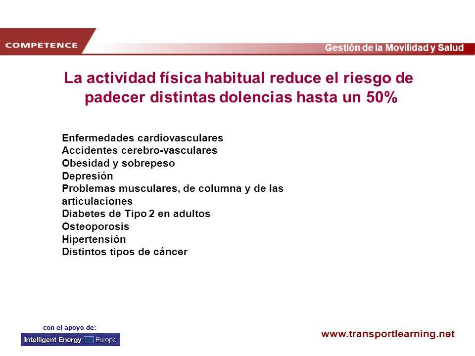 www.transportlearning.net Gestión de la Movilidad y Salud con el apoyo de: Enfermedades cardiovasculares Accidentes cerebro-vasculares Obesidad y sobr
