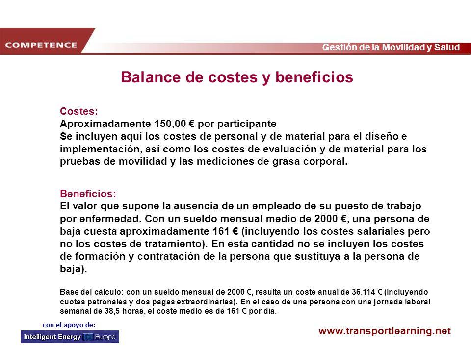 www.transportlearning.net Gestión de la Movilidad y Salud con el apoyo de: Costes: Aproximadamente 150,00 por participante Se incluyen aquí los costes