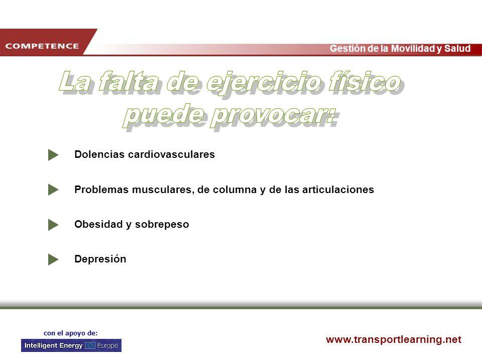 www.transportlearning.net Gestión de la Movilidad y Salud con el apoyo de: Dolencias cardiovasculares Problemas musculares, de columna y de las articu