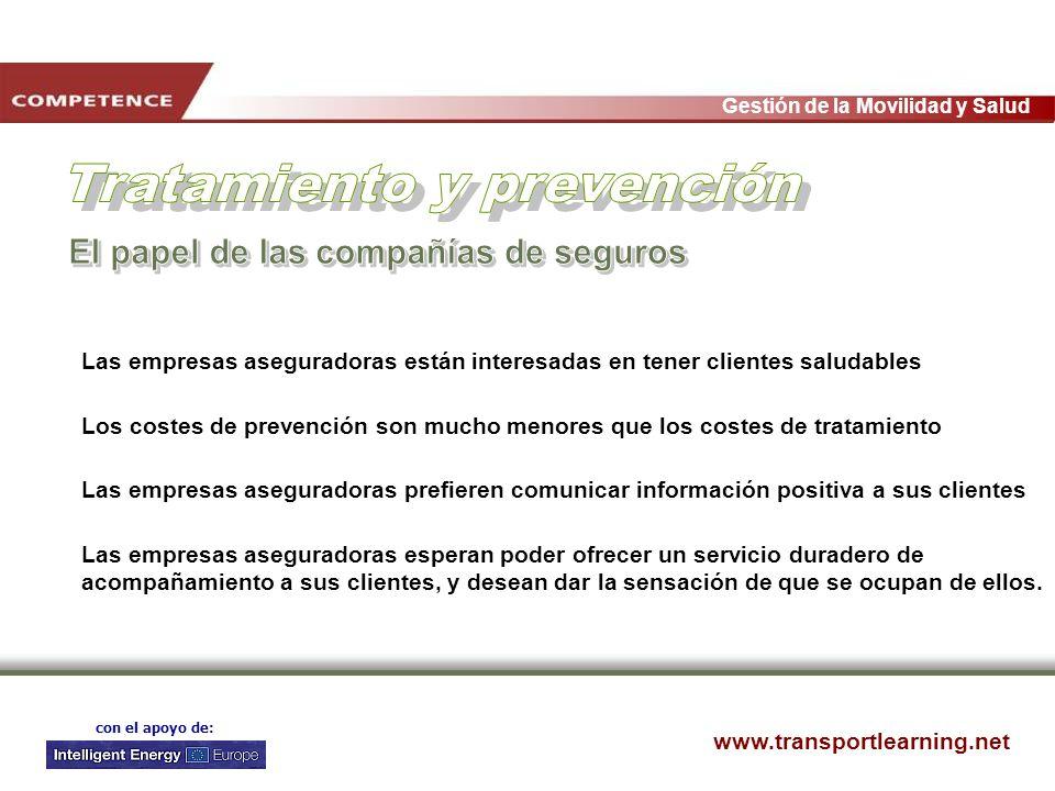 www.transportlearning.net Gestión de la Movilidad y Salud con el apoyo de: Las empresas aseguradoras están interesadas en tener clientes saludables Lo