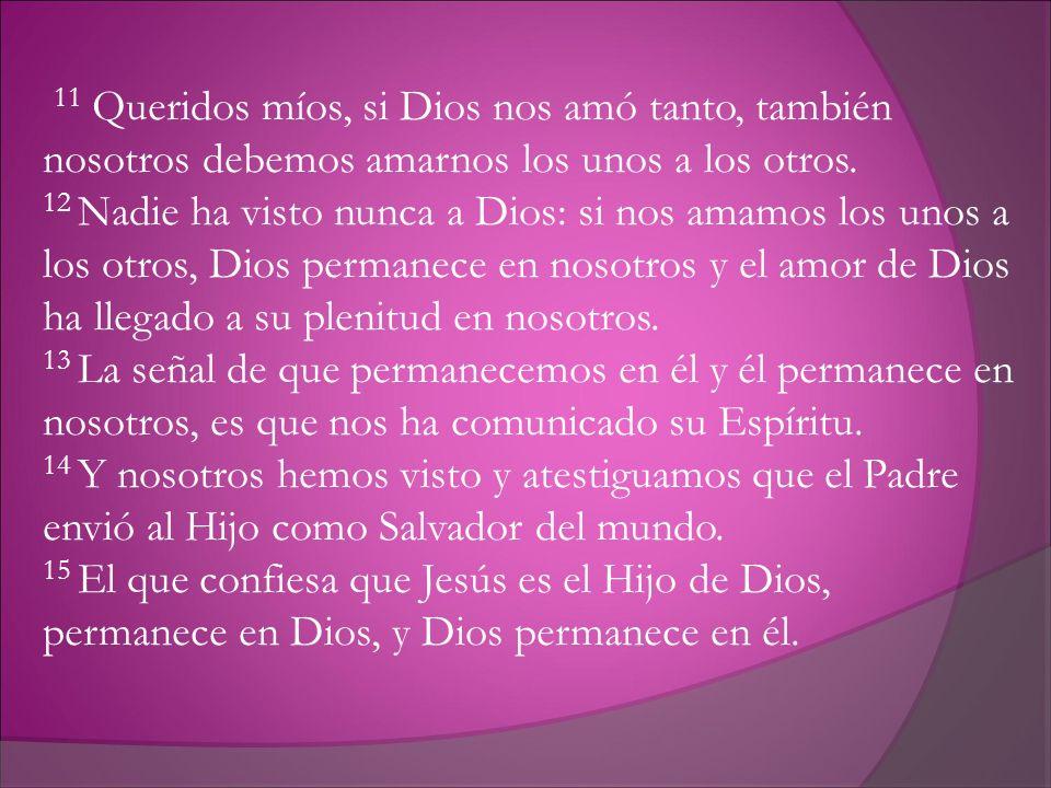 11 Queridos míos, si Dios nos amó tanto, también nosotros debemos amarnos los unos a los otros. 12 Nadie ha visto nunca a Dios: si nos amamos los unos