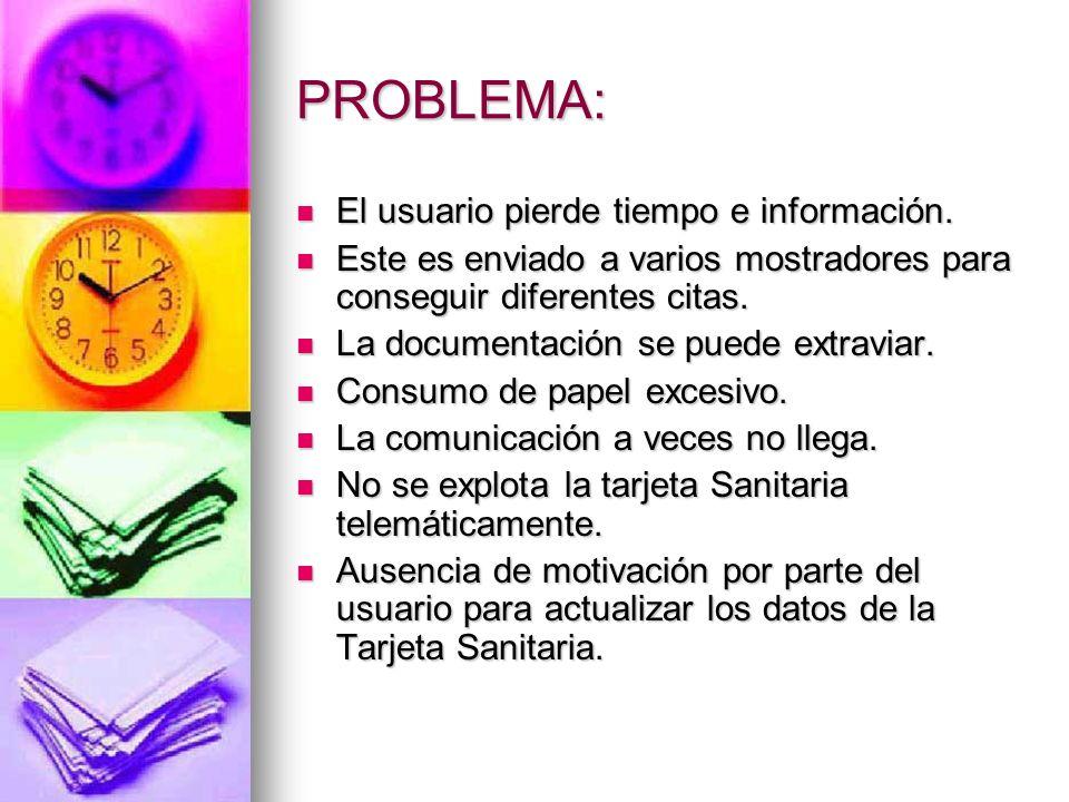 PROBLEMA: El usuario pierde tiempo e información. El usuario pierde tiempo e información. Este es enviado a varios mostradores para conseguir diferent