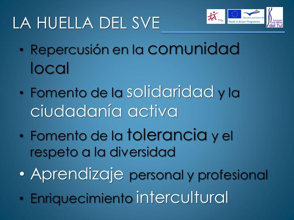 LA HUELLA DEL SVE Repercusión en la comunidad local Repercusión en la comunidad local Fomento de la solidaridad y la ciudadanía activa Fomento de la s