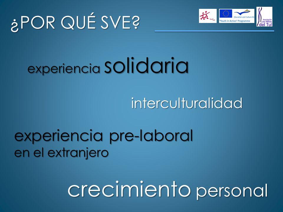 ¿POR QUÉ SVE? experiencia solidaria interculturalidad experiencia pre-laboral en el extranjero crecimiento personal