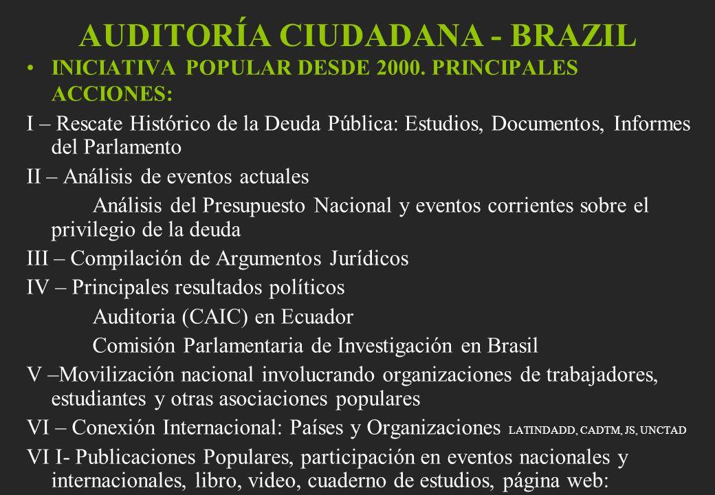 AUDITORÍA CIUDADANA - BRAZIL INICIATIVA POPULAR DESDE 2000. PRINCIPALES ACCIONES: I – Rescate Histórico de la Deuda Pública: Estudios, Documentos, Inf