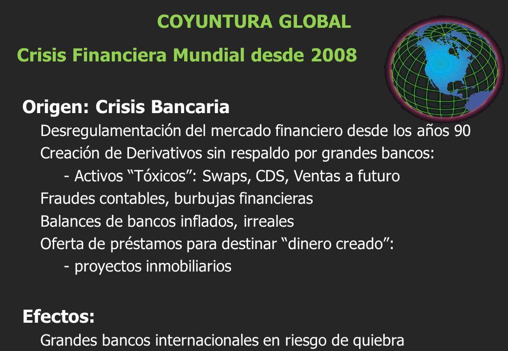 COYUNTURA GLOBAL Crisis Financiera Mundial desde 2008 Origen: Crisis Bancaria Desregulamentación del mercado financiero desde los años 90 Creación de