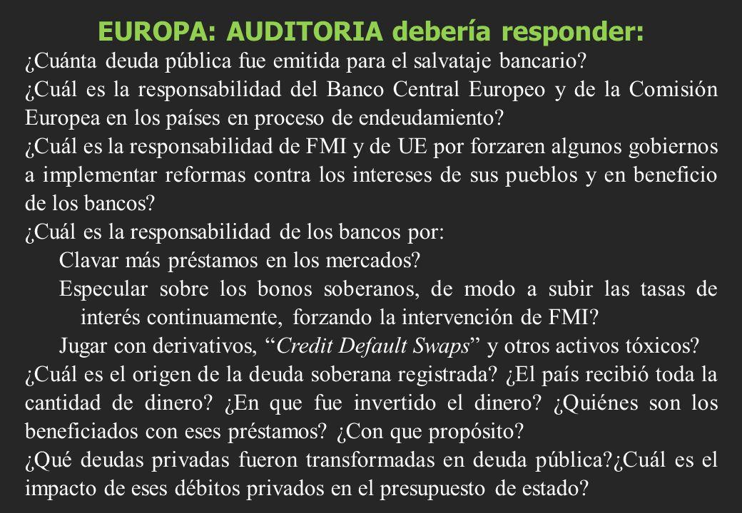 EUROPA: AUDITORIA debería responder: ¿Cuánta deuda pública fue emitida para el salvataje bancario? ¿Cuál es la responsabilidad del Banco Central Europ