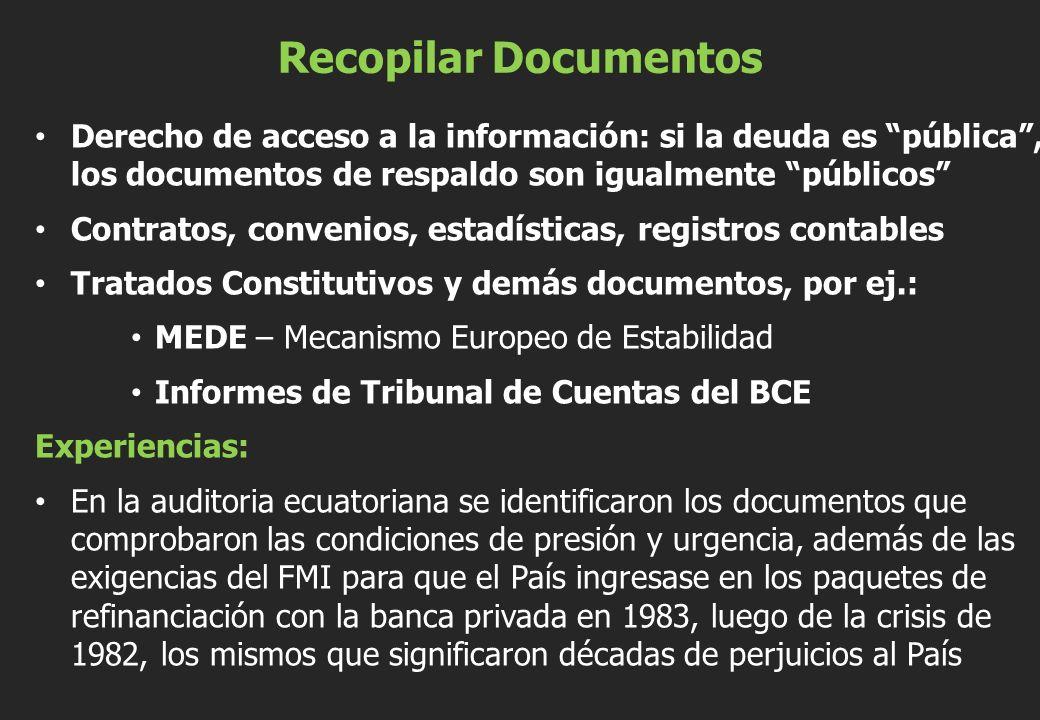 Recopilar Documentos Derecho de acceso a la información: si la deuda es pública, los documentos de respaldo son igualmente públicos Contratos, conveni
