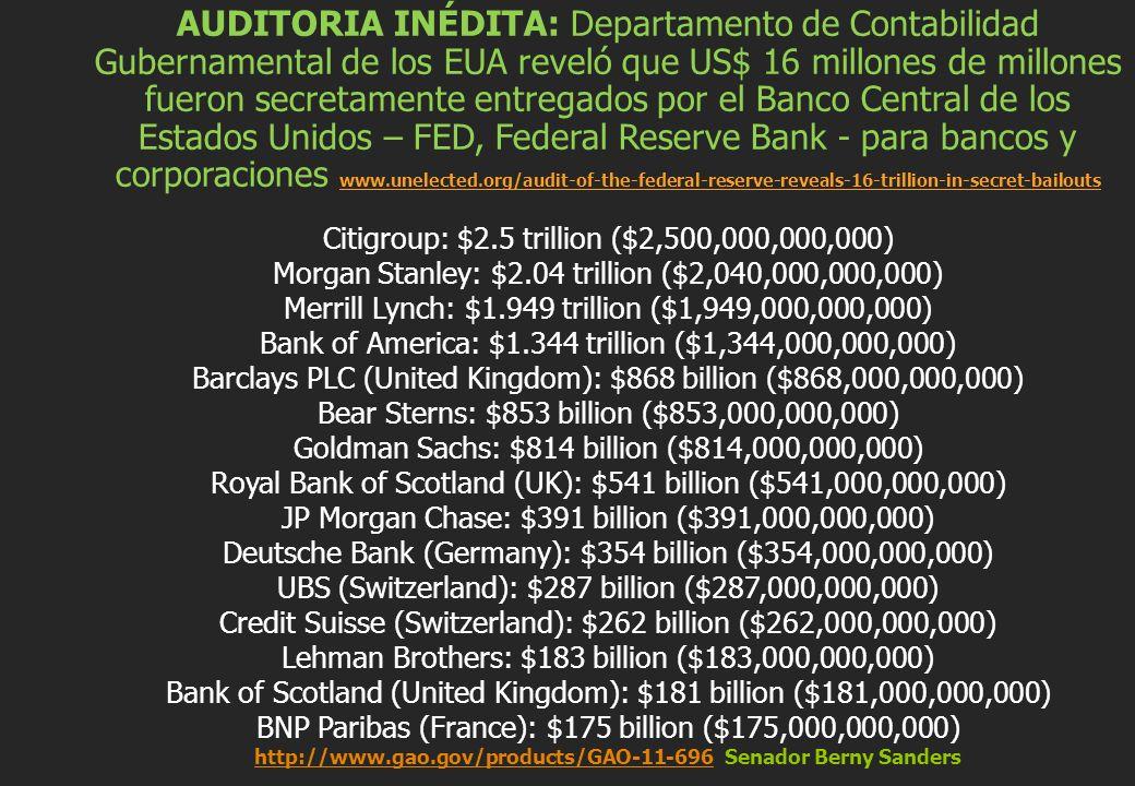 AUDITORIA INÉDITA: Departamento de Contabilidad Gubernamental de los EUA reveló que US$ 16 millones de millones fueron secretamente entregados por el