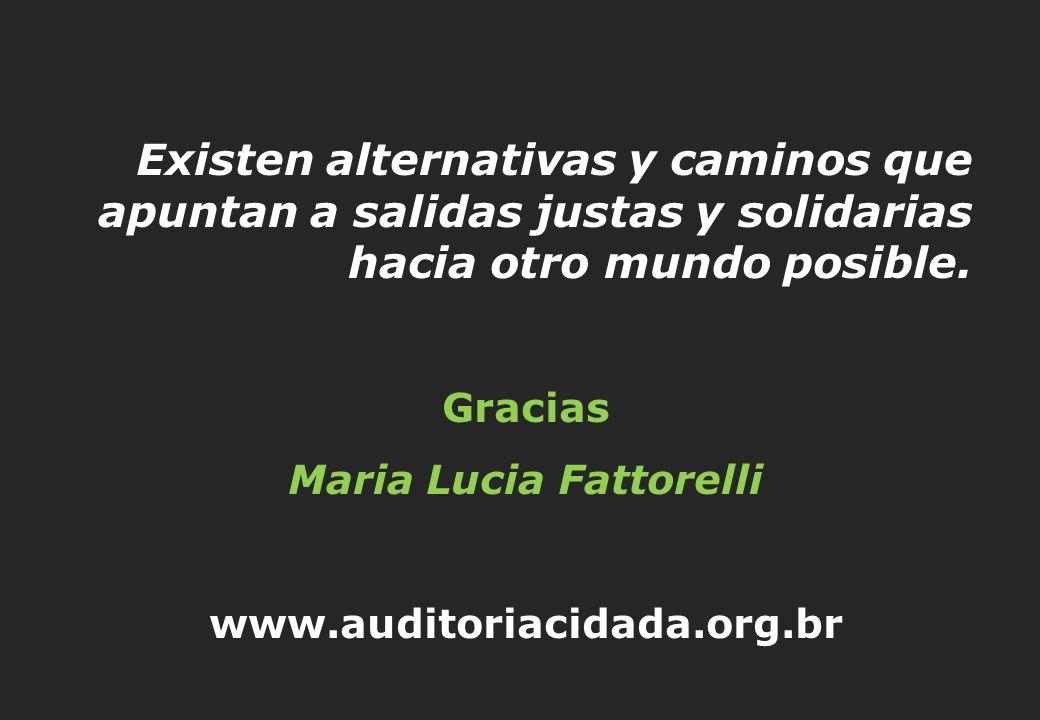 Existen alternativas y caminos que apuntan a salidas justas y solidarias hacia otro mundo posible. Gracias Maria Lucia Fattorelli www.auditoriacidada.