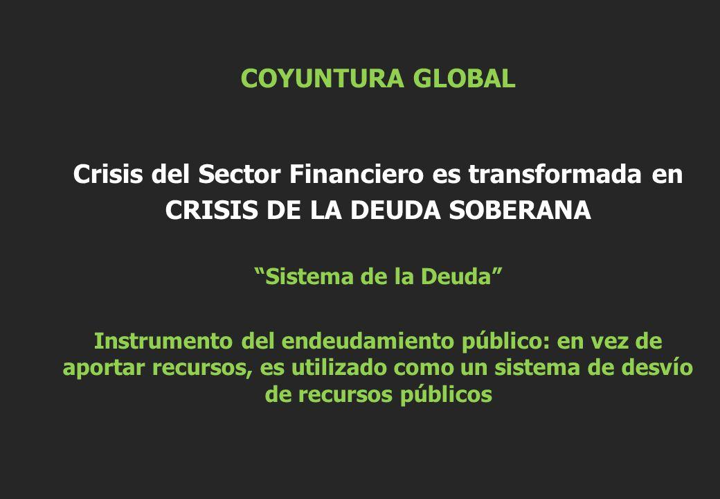 COYUNTURA GLOBAL Crisis del Sector Financiero es transformada en CRISIS DE LA DEUDA SOBERANA Sistema de la Deuda Instrumento del endeudamiento público