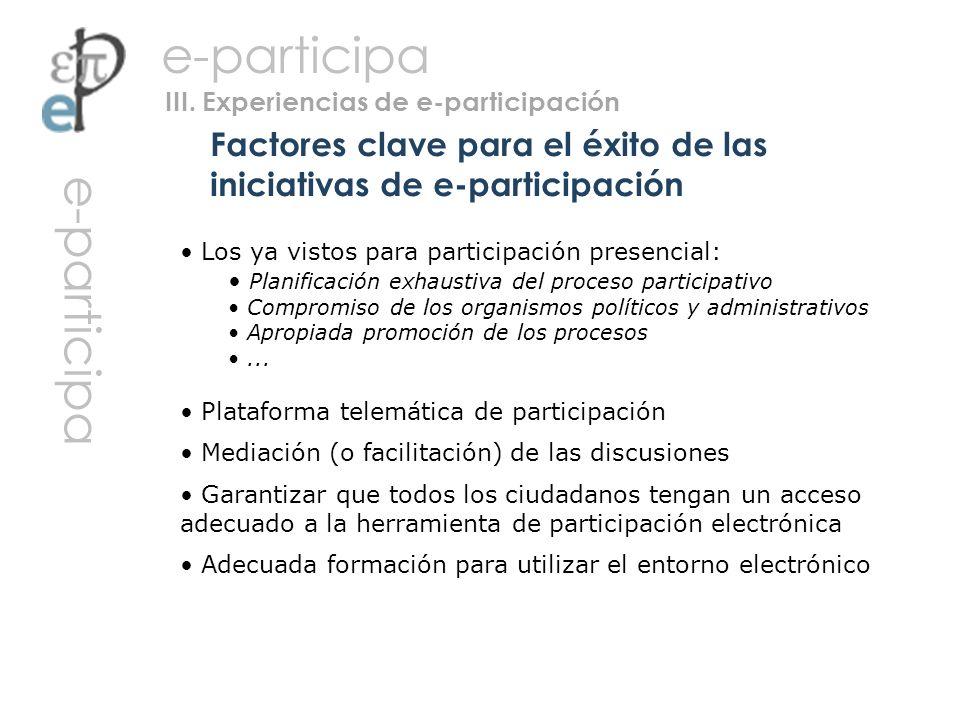 Los ya vistos para participación presencial: Planificación exhaustiva del proceso participativo Compromiso de los organismos políticos y administrativ