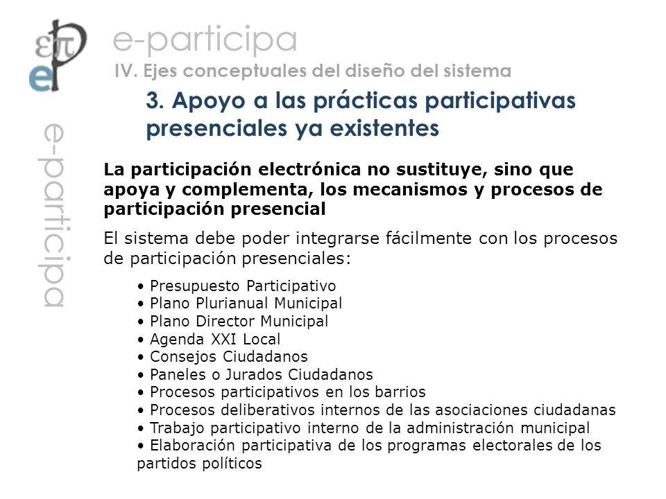 La participación electrónica no sustituye, sino que apoya y complementa, los mecanismos y procesos de participación presencial El sistema debe poder i