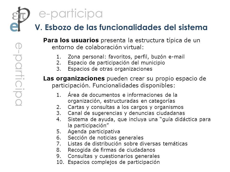 Para los usuarios presenta la estructura típica de un entorno de colaboración virtual: 1.Zona personal: favoritos, perfil, buzón e-mail 2.Espacio de p