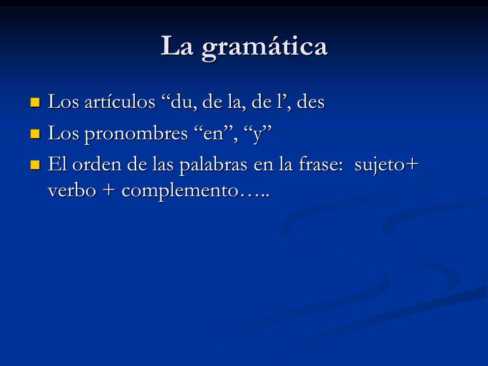 La gramática Los artículos du, de la, de l, des Los artículos du, de la, de l, des Los pronombres en, y Los pronombres en, y El orden de las palabras